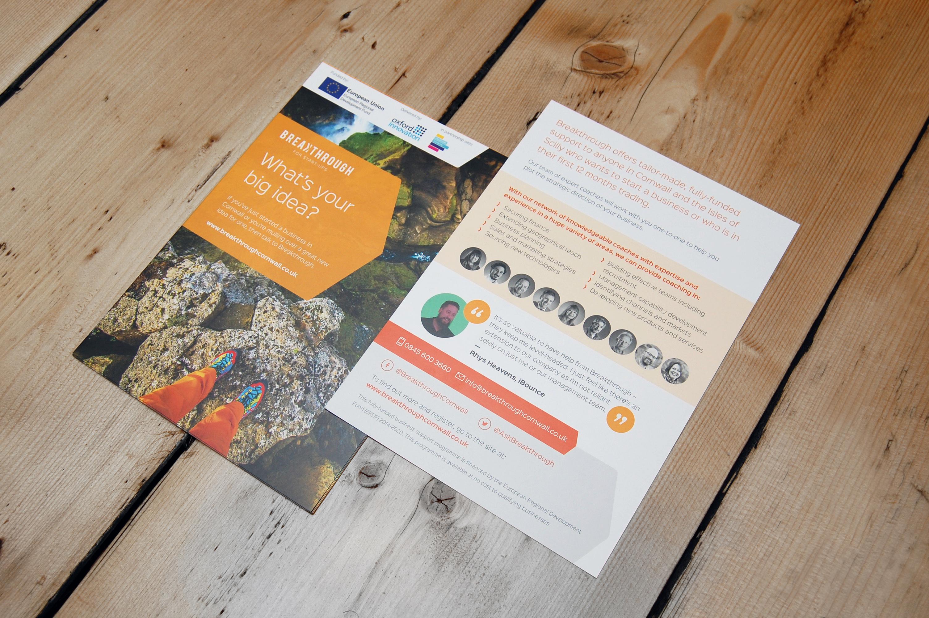 leaflet design breakthrough cornwall