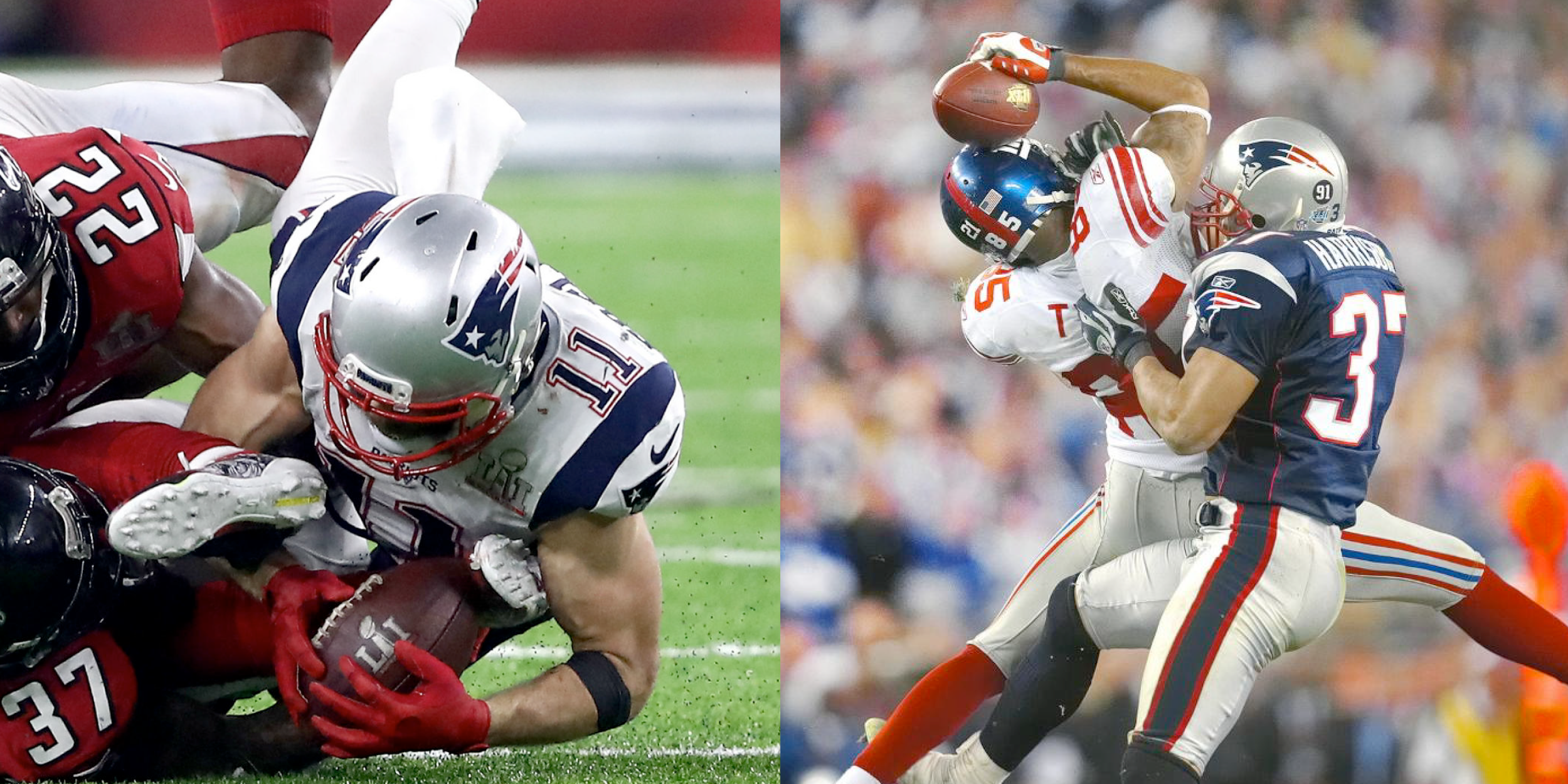 Julian Edelman Shoe Catch v David Tyree Helmet Catch